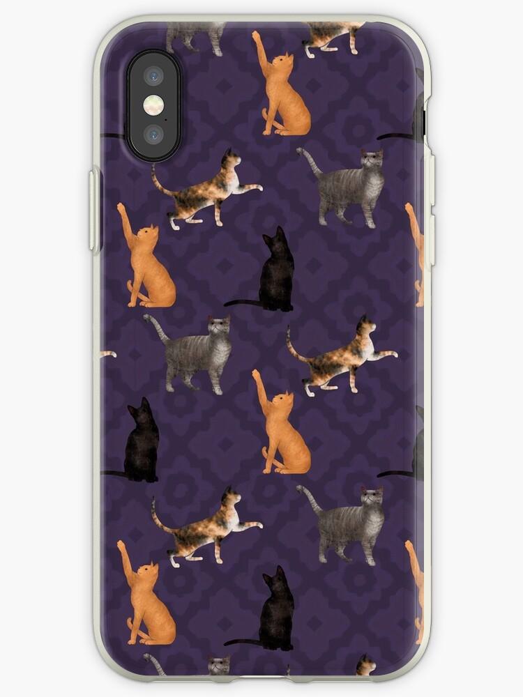 Tabby Cat Party in Purple Tile Pattern by Eleanor Rhinehart