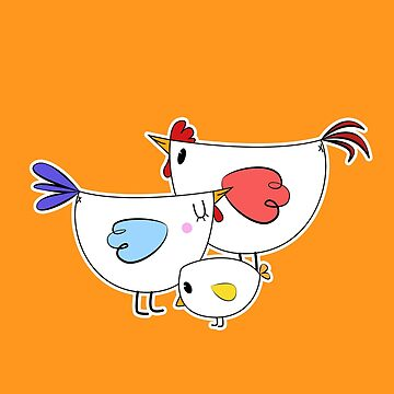 Chicken family Adorable Cute chicks, colorful design by Buno