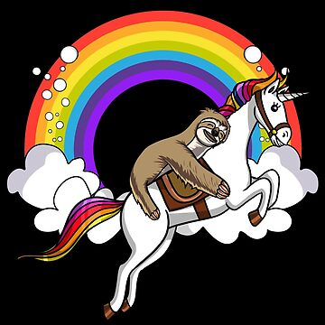 Lazy Sloth Riding Magical Unicorn Funny Rainbow by underheaven