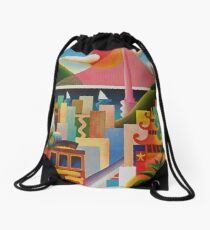 San Francisco California Colorful Retro Vintage Poster Drawstring Bag
