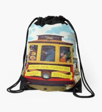 San Francisco California Cable Car Retro Vintage Poster Drawstring Bag