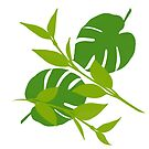 Simply Tropical Leaves with White background by GrimalkinStudio