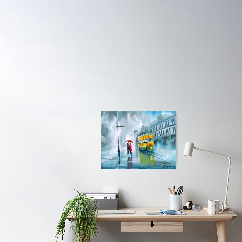 SAYING GOODBYE rainy day umbrella painting Poster