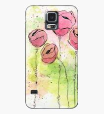 Pink and Green Splotch Flowers Case/Skin for Samsung Galaxy