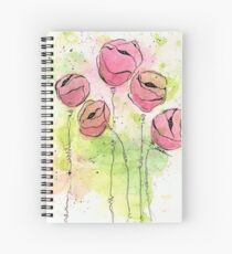 Pink and Green Splotch Flowers Spiral Notebook