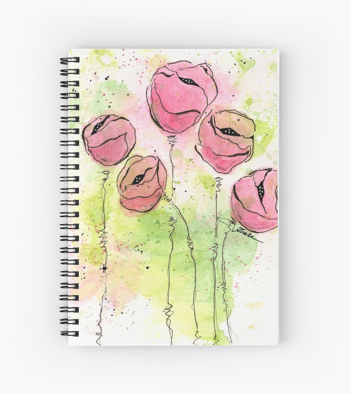 Pink and Green Splotch Flowers by classygirl