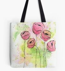 Pink and Green Splotch Flowers Tote Bag
