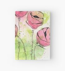 Pink and Green Splotch Flowers Hardcover Journal