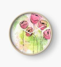 Pink and Green Splotch Flowers Clock