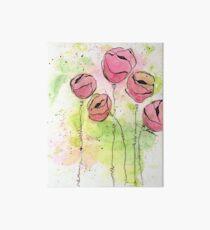 Pink and Green Splotch Flowers Art Board