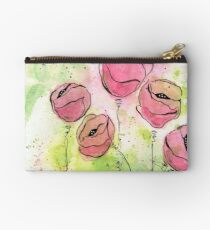 Pink and Green Splotch Flowers Studio Pouch