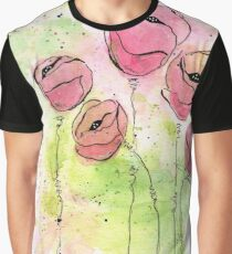Pink and Green Splotch Flowers Graphic T-Shirt