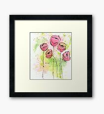 Pink and Green Splotch Flowers Framed Print