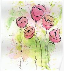 Pink and Green Splotch Flowers Poster