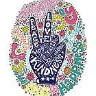 «Signo de la paz Letras ilustración- Paz, amor, fe, alegría, esperanza, amabilidad, confianza» de picbykate