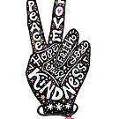 «Signo de la paz con palabras Paz, amor, fe, alegría, esperanza, amabilidad, confianza» de picbykate