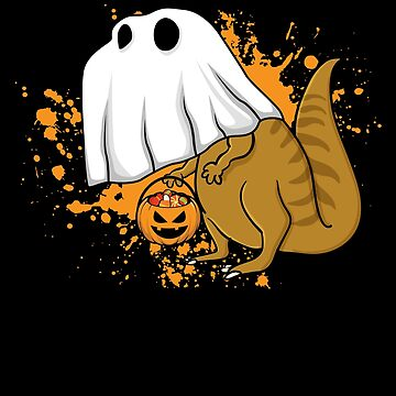 Halloween T Rex Dinosaur Ghost Trick or Treat by BUBLTEES