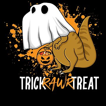 Trick Rawr Treat Halloween T Rex Dinosaur Ghost by BUBLTEES