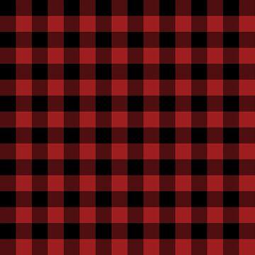 Rustic Red and Black Buffalo Plaid Pattern by KokoloHG