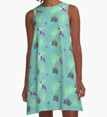 Berries and birds A-Line Dress