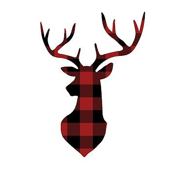Red and Black Buffalo Plaid Deer Head by KokoloHG