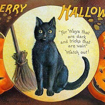 Merry Halloween Black Cat by Falln