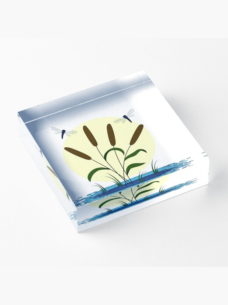 Alternate view of Cattails and Dragonflies Acrylic Block