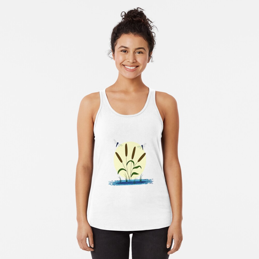 Cattails and Dragonflies Racerback Tank Top