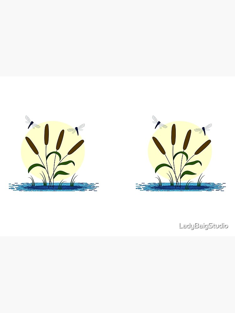 Cattails and Dragonflies by LadyBaigStudio