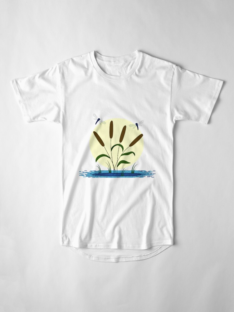 Alternate view of Cattails and Dragonflies Long T-Shirt
