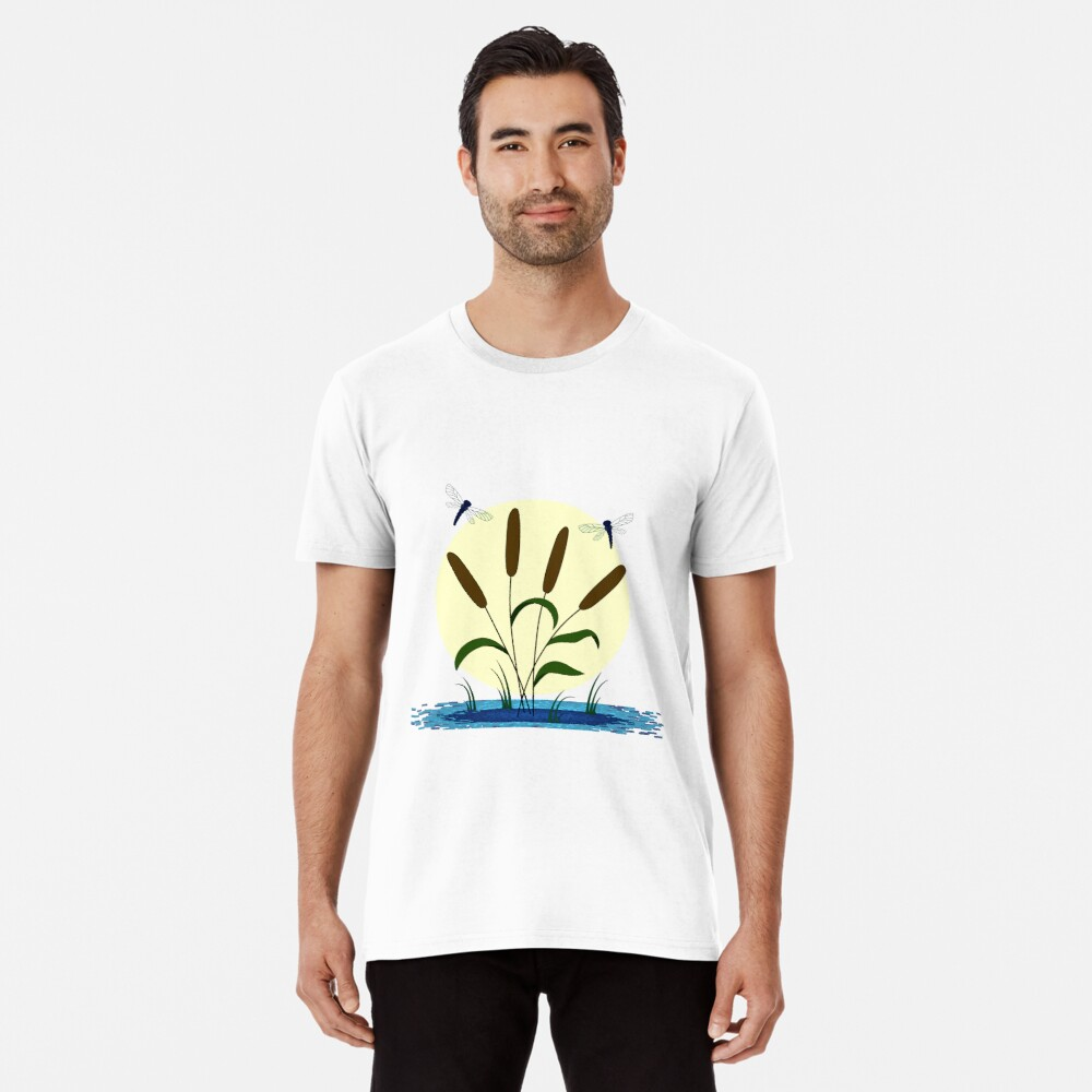 Cattails and Dragonflies Premium T-Shirt