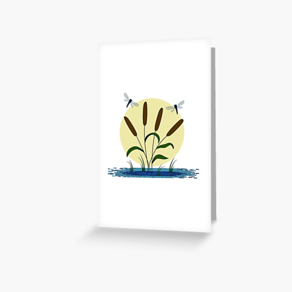 Cattails and Dragonflies Greeting Card