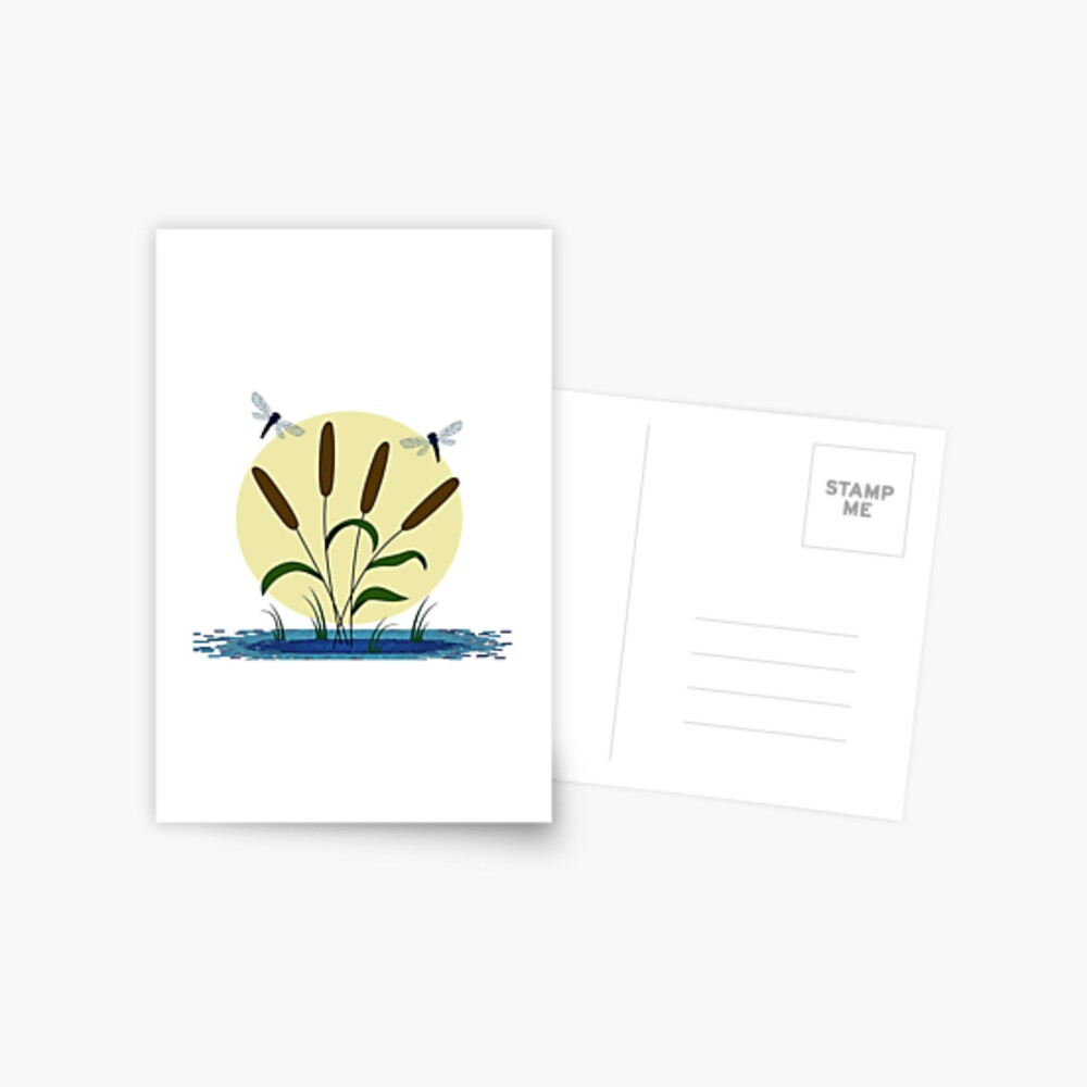 Cattails and Dragonflies Postcard