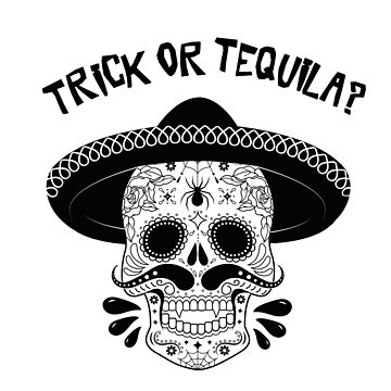 Trick or Tequila Halloween Graphic Monochrome Vampire Sugar Skull by TotalTeeGeek