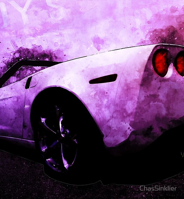Fat Bottom Vette at Roy's Cafe Route 66 Late One Night by ChasSinklier