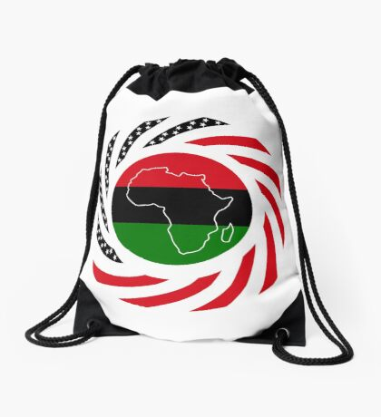 Black Murican Patriot Flag Series Drawstring Bag