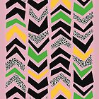CHEVRONS ROUGH, crushed pink, black, white, green, yellow by mapmapart
