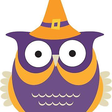 Cute Purple Halloween Owl by EarthlyIndigo