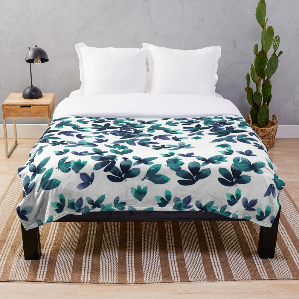 Born to Butterfly - Teal and Navy Palette Throw Blanket