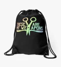 Hairstylist Barber Comb Scissors Are My Weapons Drawstring Bag