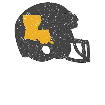 State Shape of Louisiana on Vintage Football Helmet by ZippyThread