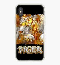 Gold and silver bamboo tiger iPhone Case