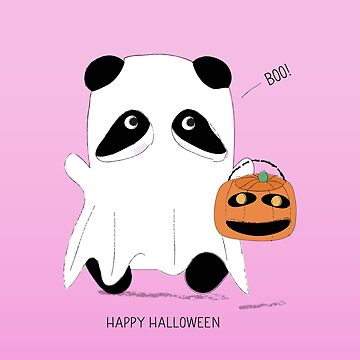 Cute Panda Ghost Trick or Treat Happy Halloween by flourishandflow