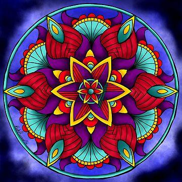 Colorful Flower Mandala by BHDigitalArt