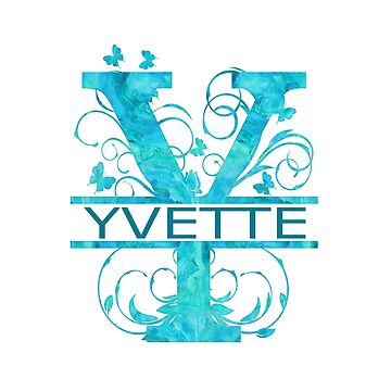 Yvette | Girls Name Monogram | Watercolor and Butterflies  by PraiseQuotes
