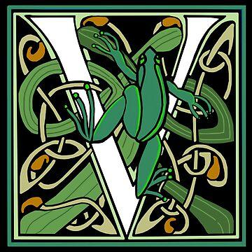 Celtic Nouveau Frog Letter V 2018 by Donnahuntriss