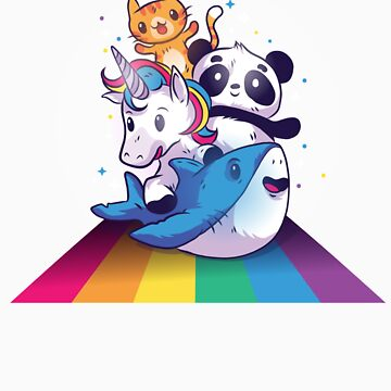 Cat Panda Unicorn Riding A Shark Cute Rainbow Animals by Tigarlily