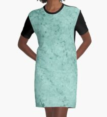 Turquoise Blue Clouded  Graphic T-Shirt Dress