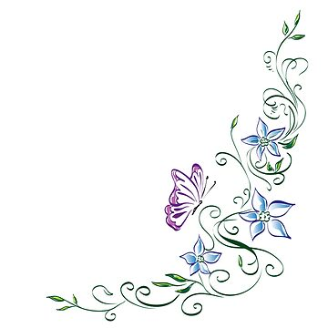 Flower tendril with butterfly - floral gift idea by Myriala