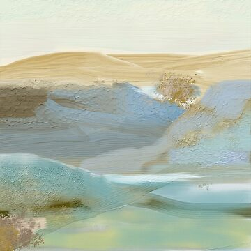 Blue, Bronze, Gold, Southwestern Abstract Landscape by Jessielee72
